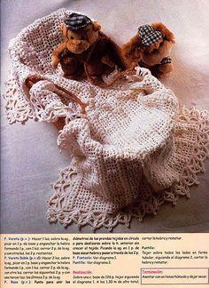 lo spazio di lilla: Copertina per neonato all'uncinetto con un bordo da favola...