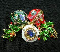 Weiss Rhinestone Christmas Brooch Vintage Signed Enamel Ornaments & Holly Pin