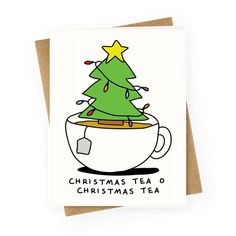 holiday inspiration Christmas Tea O Christmas Tea - Show off your love of the best time of the year with this holiday inspired, Christmas lovers, tea pun Christmas card! Pour yourself a big cup of tea and get yourself in the Christmas spirit! Punny Christmas Cards, Christmas Greetings Quotes Funny, Funny Christmas Puns, Homemade Christmas Cards, Noel Christmas, Handmade Christmas, Christmas Crafts, Christmas Ecards, Funny Xmas Cards