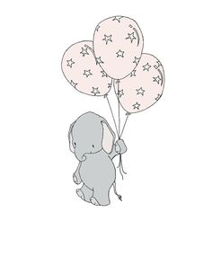 Elephant Nursery Art Print -- Elephant Star Spangled Balloons -- Pink and Gray