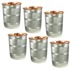 Set of 6, 350 ML , Copper and Stainless Steel Indian Drinkware Water Drinking Glasses