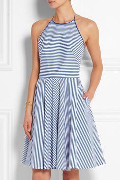 Michael Kors|Mini-robe en popeline de coton mélangé stretch à rayures |NET-A-PORTER.COM