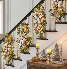 Thanksgiving Decorations, Christmas Decorations, Holiday Decor, Christmas Ideas, Bannister, Deck The Halls, Stairways, Decorative Accessories, Greenery