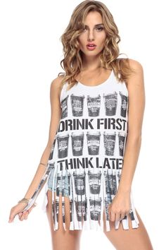 cc38017fc468 Drink First Think Later Fringe Tank   Cicihot Top Shirt Clothing Online  Store  Dress Shirt