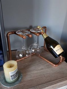 Excited to share this item from my shop: New handmade wine stand fully created from copper pipes/gifts/wine/alcohol/stand/rack/unique/fathers day Copper Wine Rack, Copper Pipes, Jack Daniels Birthday, Alcohol Dispenser, Wine Stand, Cheap Wine, Wood Glue, Bottle Holders, Wine Gifts