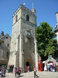 The Carfax Tower is all that remains of the Church of St Martin which was demolished in 1896 to widen the road to allow better traffic flow; Carfax is where the four principal roads of Oxford meet.