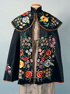 Embroidered Evening Cape, 1890-1900 - good God! To not only do that by hand, but not have it wrinkle on you!