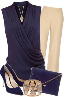 Navy blue blouse, beige pants, blue pumps, blue crossbody bag, accessories
