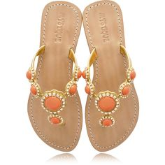 Mystique's Coral Jeweled Sandals found on Polyvore