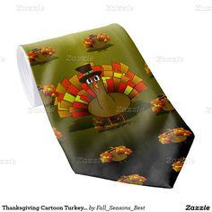 #Thanksgiving Cartoon Turkey Pilgrim #NeckTie by #Fall_Seasons_Best #zazzle #Gravityx9