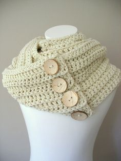 Cream Scarf, Triple Infinity Cowl Scarf Snood in Vanilla Cream with handmade Coconut Buttons, Made to order Hand Crochet, Knit Crochet, Crochet Hats, Crochet Scarves, Crochet Clothes, Handmade Scarves, Circle Scarf, Cowl Scarf, Pom Poms