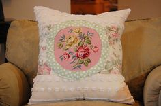 Cottage porch pillow with vintage by PetuniaRoseDesigns on Etsy, $65.00