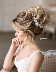 Wedding Hairstyles Ideas : Elstile messy wedding updo hairstyle – Deer Pearl Flowers / www. Wedding Hairstyles For Long Hair, Wedding Hair And Makeup, Bride Hairstyles, Bridal Hair, Hairstyle Ideas, Hair Wedding, Hair Ideas, Bridal Updo With Veil, Night Hairstyles