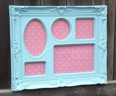 SHABBY CHIC Aqua Picture Frame Vintage Ornate Style Multi Picture Photo Frame - Great Wedding Display or Nursery Decor. $21.99, via Etsy.