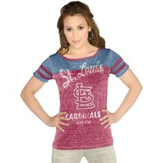 Touch by Alyssa Milano St. Louis Cardinals Ladies All-Star Slim Fit Tri-Blend Burnout T-Shirt - Red/Navy Blue