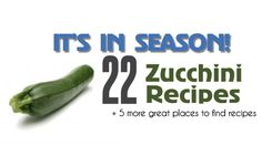 It's in Season! 22 Zucchini Recipes! Dinner, side dishes, salads, and baked items!
