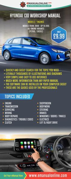 Hyundai i30 Workshop Manual   This workshop manual consists of step by step instructions for any service, maintenance, or repair procedure you could ever carry out on your car. Perfect for DIY enthusiasts and experienced mechanics.