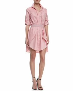 Long-Sleeve+Voile+Shirtdress+by+Halston+Heritage+at+Neiman+Marcus.
