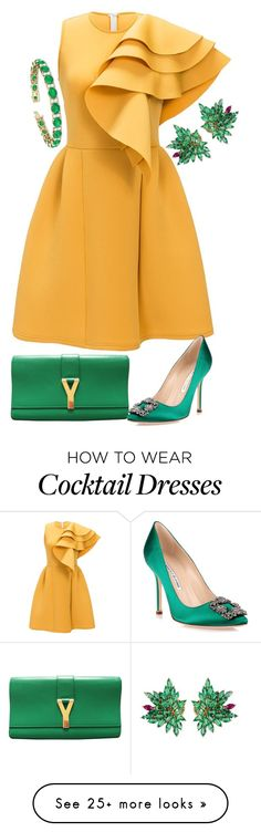"""emerald & Gold"" by shirley-degannes on Polyvore featuring Joana Salazar, Yves Saint Laurent, Allurez and Manolo Blahnik"