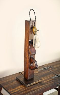 Industrial Table Lamp Primitive Antique by VintageLightCompany, $175.00