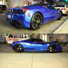 Crazy Metallic Blue wrapped  Ferrari 458 Italia.