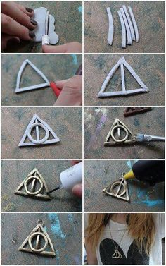Fans d'harry potter C by you: DIY – Deathly Hallows Fimo Necklace Deco Noel Harry Potter, Harry Potter Navidad, Objet Harry Potter, Harry Potter Weihnachten, Harry Potter Thema, Harry Potter Decor, Harry Potter Christmas, Harry Potter Birthday, Harry Potter Schmuck