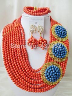 Marvelous Orange and Blue Turquoise Necklace Nigerian Wedding African Beads Costume Jewelry Set 2014 New Free Shipping TC010 $68.72