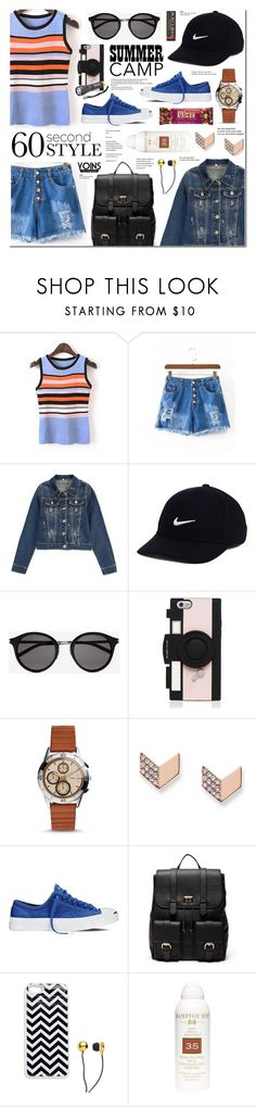"""60-Second Style: Summer Camp-Yoins 23"" by anyasdesigns ❤ liked on Polyvore featuring NIKE, Yves Saint Laurent, Kate Spade, FOSSIL, Converse, Sole Society, CUL-DE-SAC, Hampton Sun, Tiffany & Co. and Burt's Bees"
