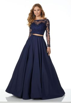 Two-Piece Ballgown Featuring a Full Taffeta Skirt and Long Sleeve Beaded and Embroidered Net Top