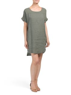 Made In Italy Linen Mix Media Dress