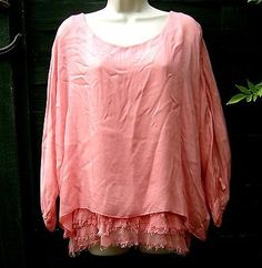 MADE IN ITALY JIVERSO CORAL LAGENLOOK SILK LAYERING TOP / TUNIC SIZE L