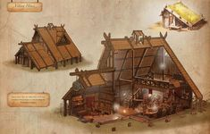 Cutaway picture of a Viking house.the door is in the wrong place, for a typical Viking house the door should be off center on one of the walls. Viking House, Viking Life, Medieval, Tyni House, Cozy House, Conan Exiles, Viking Village, Build Your House, Viking Culture