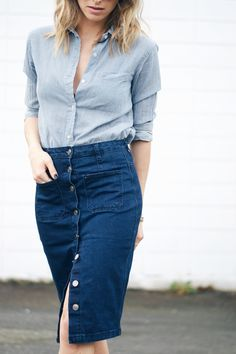 The August Diaries: Denim Squared - buttonfront denim skirt, chambray shirt