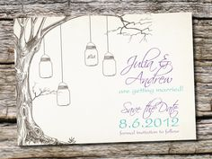 VINTAGE TREE Mason Jar Wedding Save the Date-