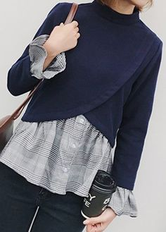 Patchwork Mock Neck Long Sleeve Navy Blue Blouse