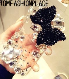 3D Bling rhinestone bow iphone 5s case iphone 5c case iphone 5 case iphone 4 4s case samsung galaxy s4 case s4 mini s2 s3 note 2 note 3 case on Etsy, $23.00