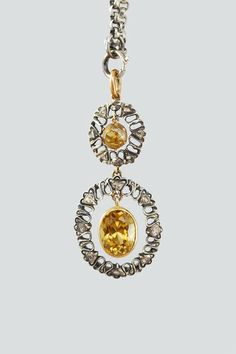 Antique Natural Zircon and Rose Cut Diamond Pendant