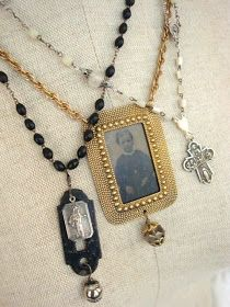 My Salvaged Treasures: Repurposed Jewelry -  bits and pieces from old broken rosaries. The necklace in the middle is a tin type photo surrounded by a brass frame that I think might have been part of a buckle.