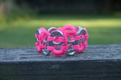 Neon Pink Pop Tab Upcycled Crochet Bracelet by Flor7 on Etsy, $3.50