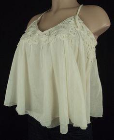 ROBERT RODRIGUEZ Top Sz S Slim Fit Beige Baby Doll Crop Cotton Silk