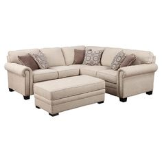 Add stately style to your living room or den with this lovely sectional sofa, showcasing a nailhead trim and rolled arms.  Product: ...