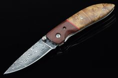 Lockback Damascus Steel Blade Collectible Folding Knife With Shadow Wood Handle 3221