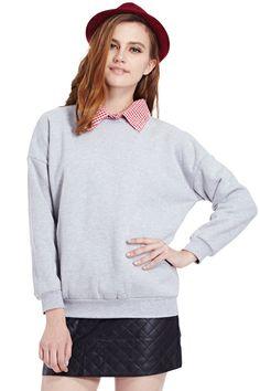 ROMWE   Detachable Checks Collar Grey Pullover, The Latest Street Fashion