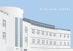 Digital illustration of Midland Hotel, Morecambe. Architect: Oliver Hill