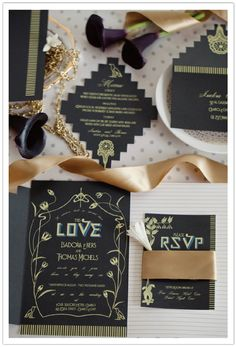 Stylized lotus flowers form a delicate frame around custom designed fonts and romantic script on this Egyptian inspired invitation