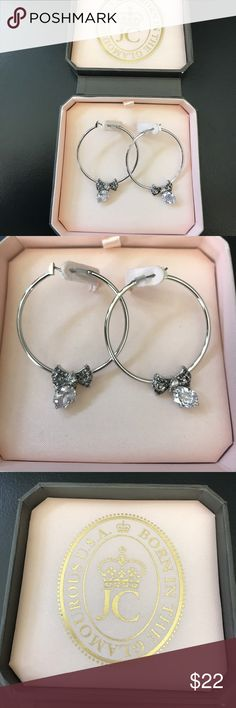 Juicy Couture Hoop Earrings Brand new juicy hope earrings in box. Has a bow and then a drop down rhinestone. Silver and so cute! Juicy Couture Jewelry Earrings