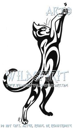Cat And Fly Tribal Tattoo by WildSpiritWolf.deviantart.com