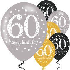 Happy 60th Birthday Gold Sparkling Celebration Balloons - 11 Latex