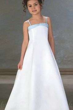 Spaghetti A Line Satin Simple Style Customzied Affordable Junior Pageant Dresses