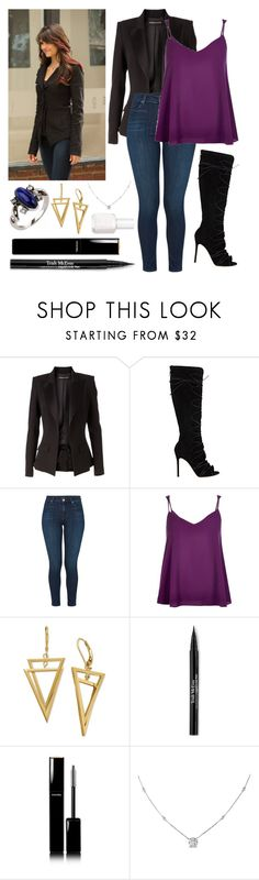 """Inspired by Elena Gilbert"" by lys-morgan ❤ liked on Polyvore featuring Alexandre Vauthier, Gianvito Rossi, J Brand, River Island, Trish McEvoy, Chanel, Ice and Essie"